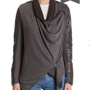 Blank NYC Asym Drape motorcycle style grey jacket